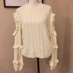 NWT Express cream cut out ruffled sleeve sweater M
